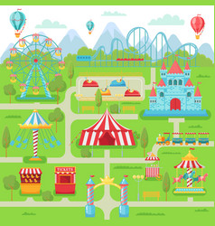 Amusement park map family entertainment festival vector