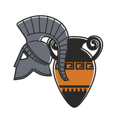 Ancient gladiator metal helmet and amphora with vector