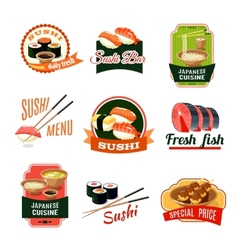 Asian Food Labels vector image
