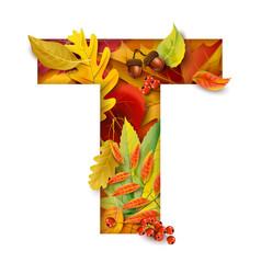 autumn stylized alphabet letter t vector image