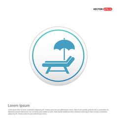 Beach umbrella and bed icon - white circle button vector