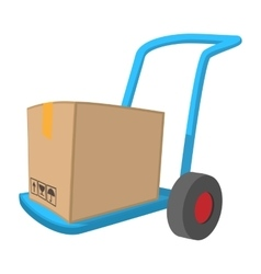 Blue hand cart with cardboard box cartoon icon vector image