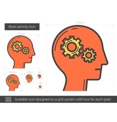 Brain activity line icon vector