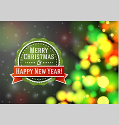 bright blurred background with xmas tree and vint vector image