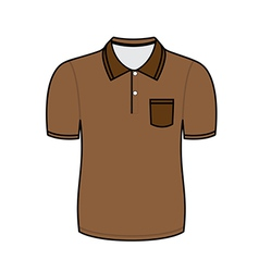 Brown polo shirt outline vector image