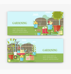 bundle of horizontal banner templates with flowers vector image