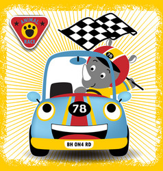 Car racer cartoon with little rhino cartoon vector