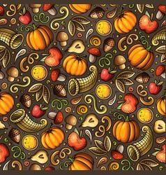 cartoon cute hand drawn thanksgiving seamless vector image