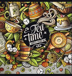Cartoon doodles tea time frame vector