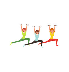 cartoon women doing exercise with dumbbells butt vector image