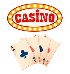 casino playing cards and frame banner with bulbs vector image