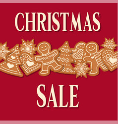 christmas sale poster with gingerbread design vector image