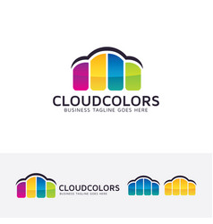 cloud color logo design vector image