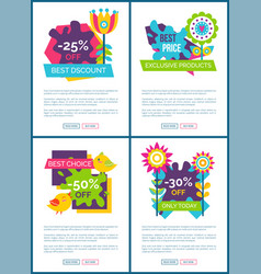 collection of web posters best offer online promo vector image