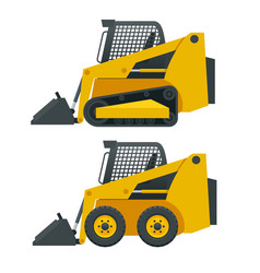 Compact excavators steer loader side view vector