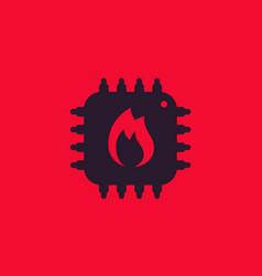 Cpu overheat icon vector