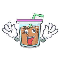 Crazy bubble tea mascot cartoon vector