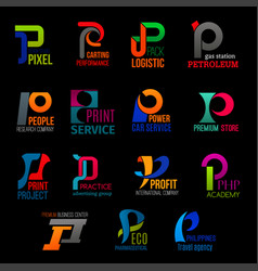 Creative corporate identity p letter icons vector