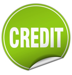 credit round green sticker isolated on white vector image