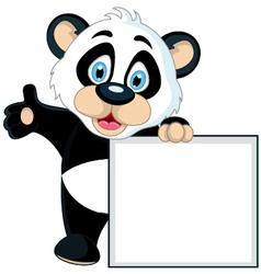 Cute panda cartoon holding blank sign vector