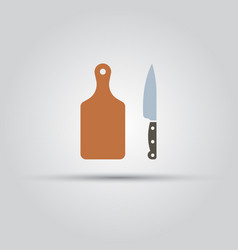 Cutting board and kitchen knife icon vector