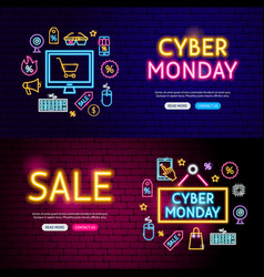 Cyber monday neon website banners vector