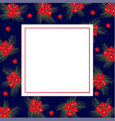 cypress vine flower on christmas blue banner card vector image