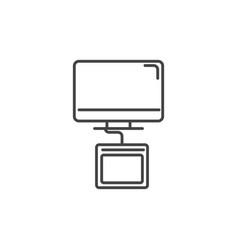 Designer computer tablet technology icon line vector