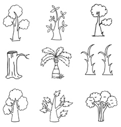 Doodle of nature tree hand draw vector image