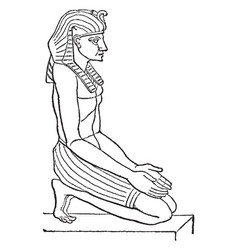 egyptian sculpture is a side view figure in vector image