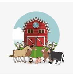 Farm design animal icon nature concept vector image
