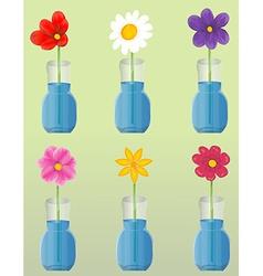 flowers in vase set vector image