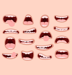 funny cartoon mouths comic hand drawn mouth vector image