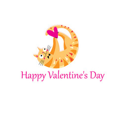 Funny orange in love cat vector