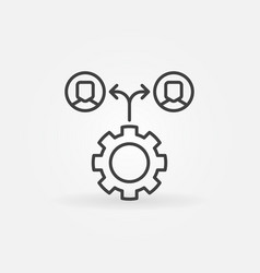 gear with people icon - outsourcing line vector image