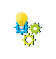 gears machine with light bulb vector image