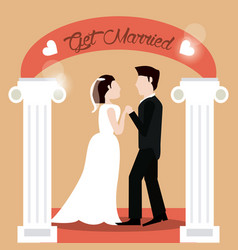 Get married couple holding hands beautiful vector