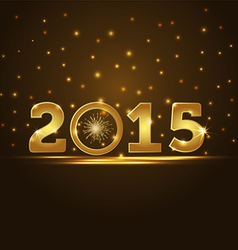 golden 2015 year card presentation vector image