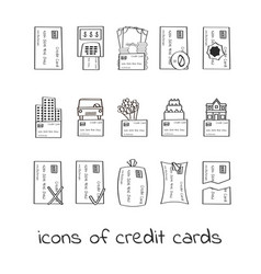 hand draw credit card icons collection of linear vector image