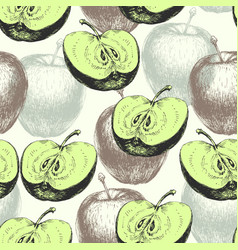 hand drawn whole and half apple seamless pattern vector image