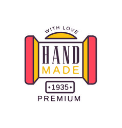 Handmade with love logo template premium quality vector