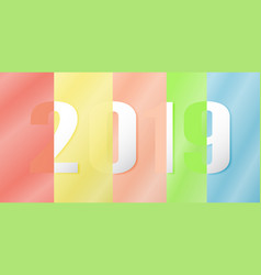happy new year 2019 in material design concept on vector image