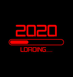 happy new year 2020 with loading icon flat red led vector image