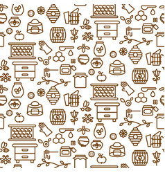 honey outline icon seamless pattern vector image