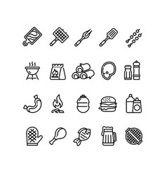 hot barbecue and grill line icons bbq outdoor vector image