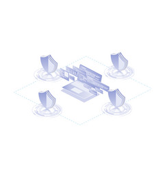 isometric protection network security and vector image