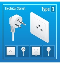 Isometric Switches and sockets set Type O AC vector image