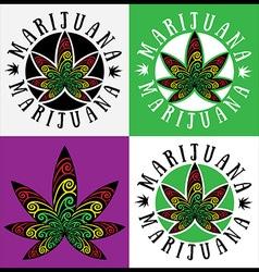 jamaican style cannabis marijuana leaf symbol vector image
