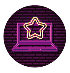 Laptop star neon video game wall vector