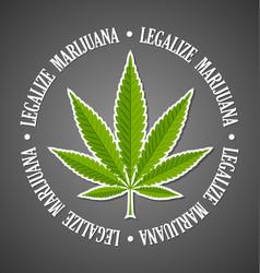 legalize marijuana hemp leaf on black background vector image